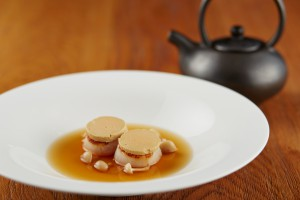 Elements_Scallops topped with foie gras, shimeji scented miso consomme