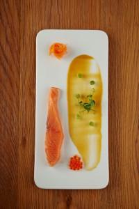 Elements_Tasmanian ocean trout confit, pickled vegetables and orange miso coulis